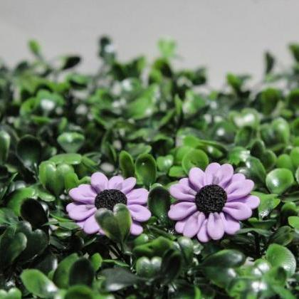 Miniature Purple Daisy Studs, Handm..