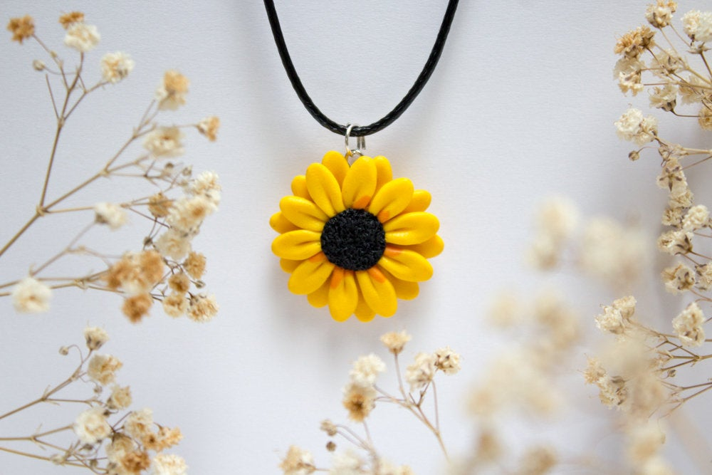 Handmade Sunflower Pendant, 2 Sizes, Polymer Clay Sunflower Necklace, Gift For Her, Bright, Unique, Bridesmaids Gift, Made in Australia Gift