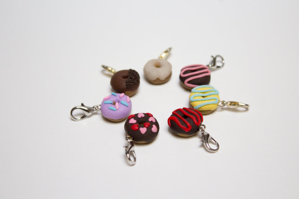 Miniature Handmade Donut Charm, Varying Colours, Mini Polymer Clay Doughnut Charm with Clasp, Children's Gifts, Cute Gift, Made in Australia