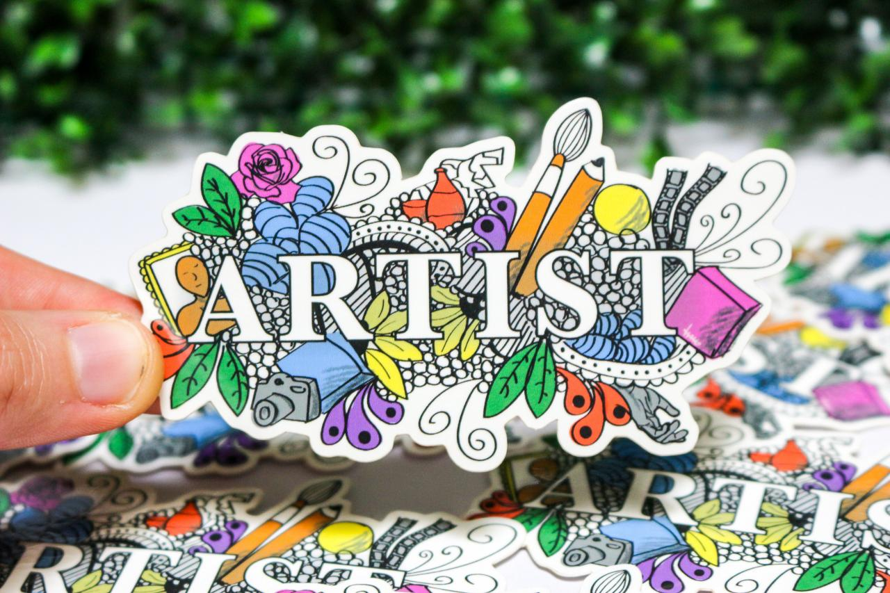 Artist vinyl sticker, hand drawn, laptop decal, painting, drawing, sculpture, photography, gift for her, gifts for artists, Australia
