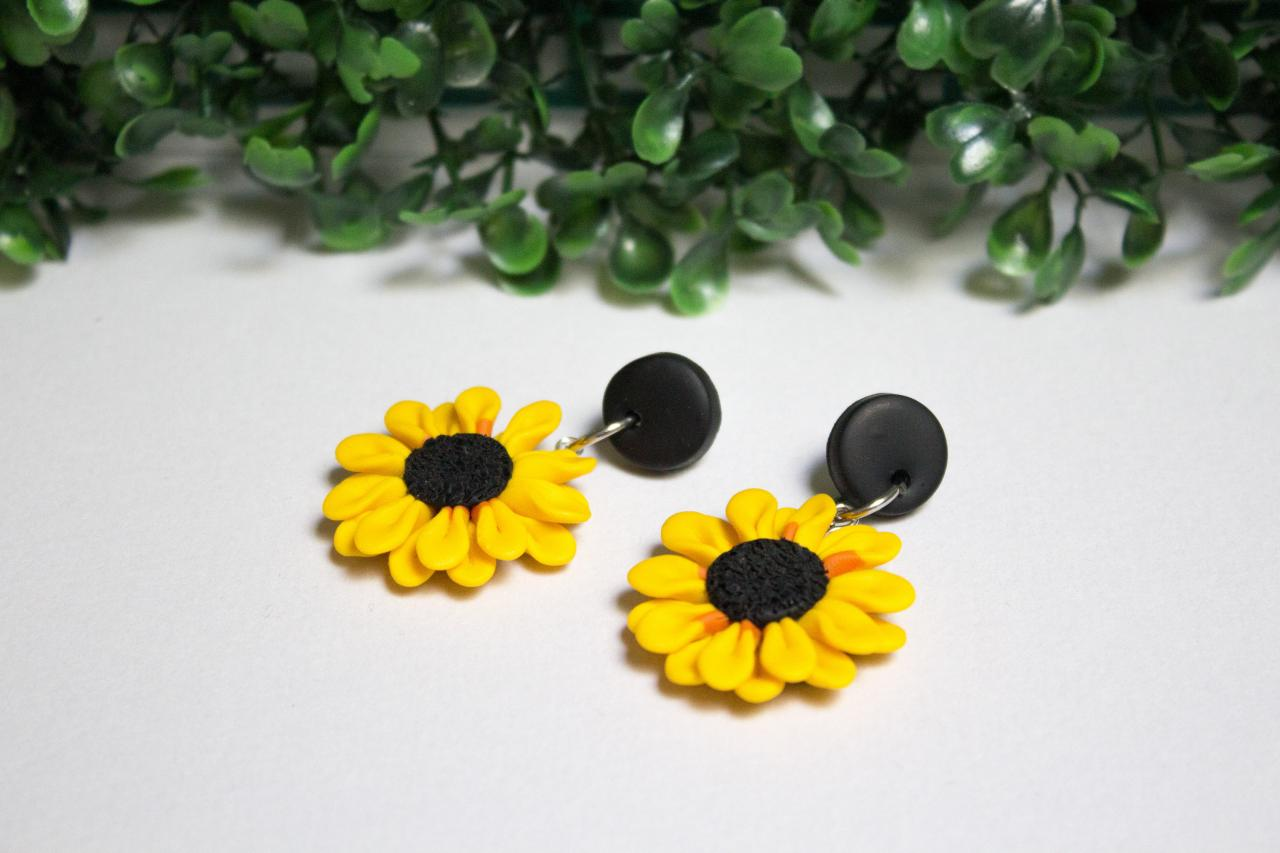 Polymer Clay Sunflower Dangles, Stud tops, Handmade Stud Earrings, Two sizes, Gift for her, Clay Jewellery, Made in Australia