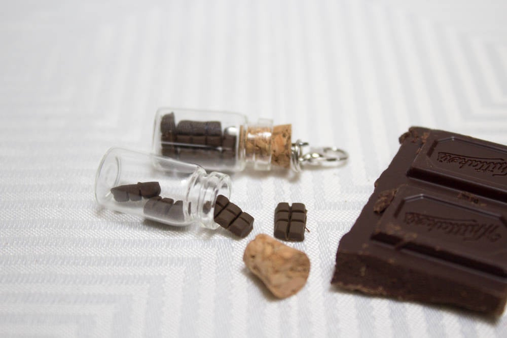 Miniature Chocolate Bottle Charm, Handmade Polymer Clay Chocolate Blocks, Easter Gift, Miniature, Cute Tiny Corked Bottle, Made in Australia