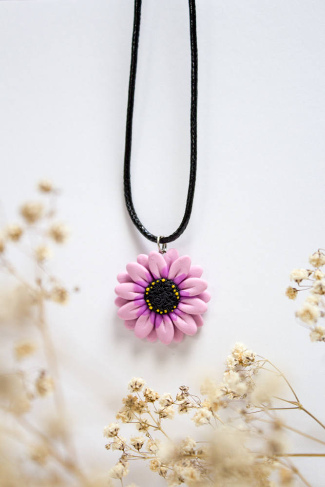 Pink Daisy Pendant, Handmade Polymer Clay Necklace Charm, Made in Australia, Gift for Her, Flower Jewellery, Handmade Jewelry, Birthday