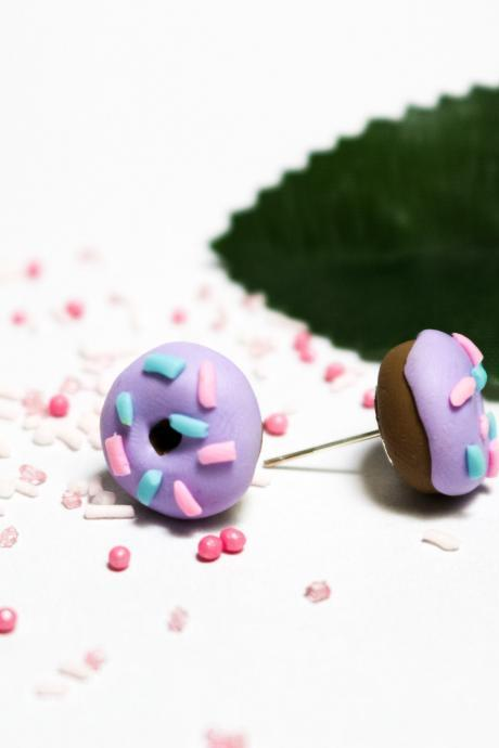 Mini handmade donut stud earrings, Polymer clay, Purple miniature doughnut studs, Gift for her, Made in Australia