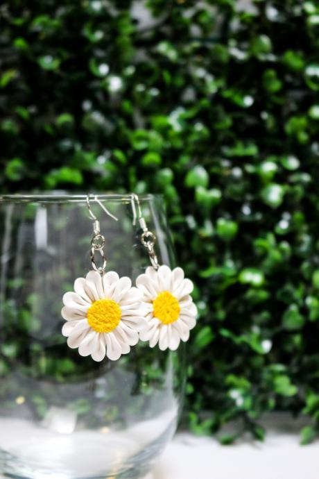 Polymer Clay Daisy Dangles, Shepherd hook tops, Handmade Stud Earrings, Two sizes, Gift for her, Clay Jewellery, Made in Australia