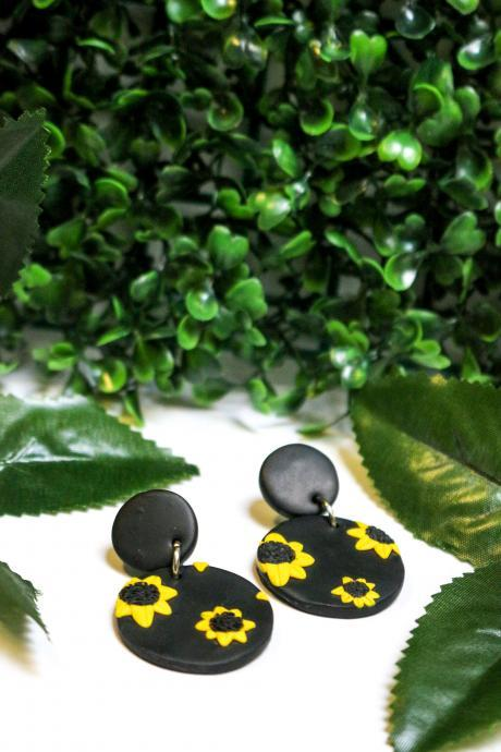Polymer Clay Sunflower Print Dangles, stud tops, Handmade Stud Earrings, Gift for her, Clay Jewellery, Made in Australia