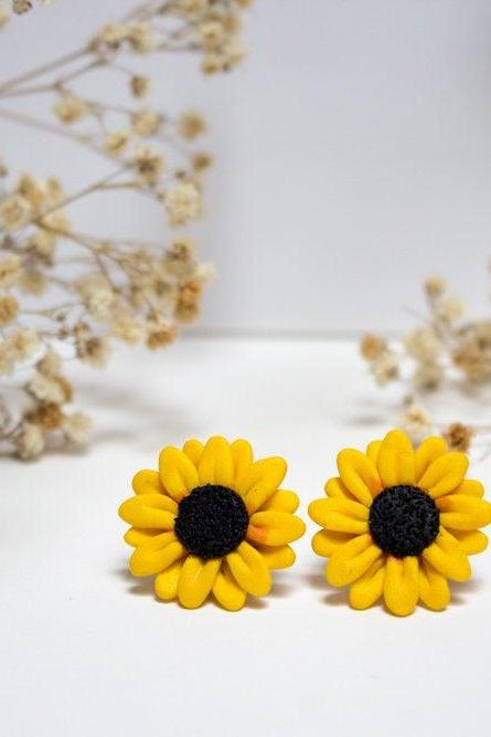 Miniature Handmade Clay Sunflower Stud Earrings, Mini Polymer Clay Jewellery, Flower Earrings, Cute, Gift for Her, Made in Australia