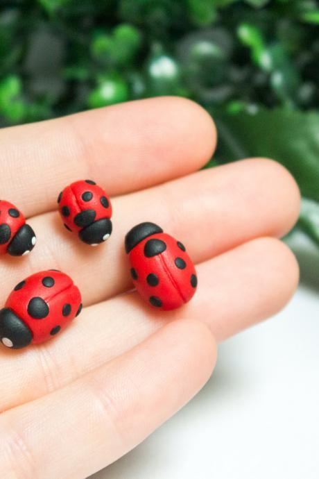 Ladybug stud earrings, 2 sizes, handmade polymer clay, ladybird, fimo, children's gift, gift for her, birthday present, Made in Australia