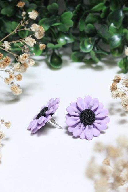 Miniature Purple Daisy Studs, Handmade Polymer Clay Stud Earrings, Gift for Her, Bridesmaids Gift, Made in Australia