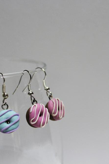 Miniature Handmade Polymer Clay Donut Charm Earrings, Polymer Clay Dangle and Drop Earrings, Cute Miniature Food Earrings, Made in Australia