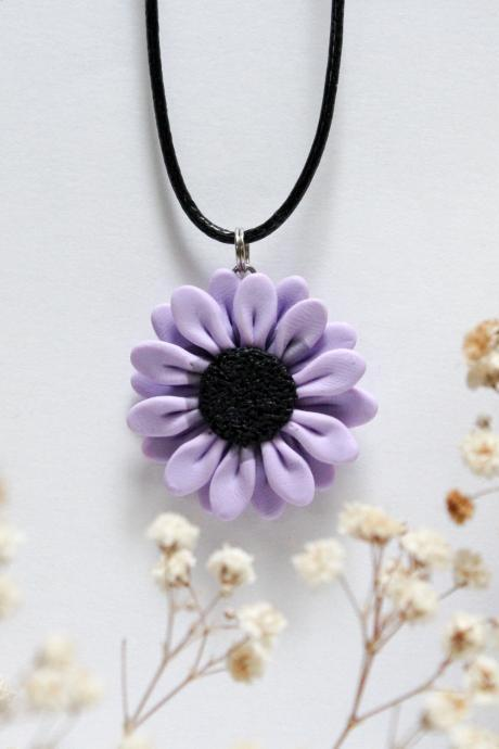 Purple Daisy Pendant, Handmade Polymer Clay Necklace Charm, Made in Australia, Gift for Her, Flower Jewellery, Handmade Jewelry, Birthday