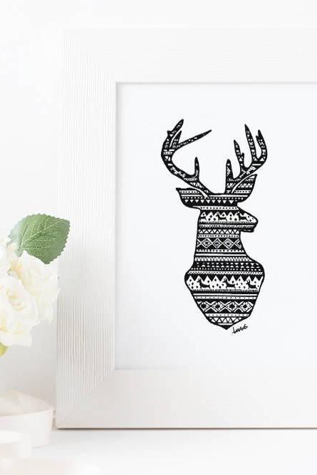 Deer drawing art print, Handmade, Hand drawn festive pattern reindeer, Gift for him, Gifts for her, Ink drawing, Made in Australia