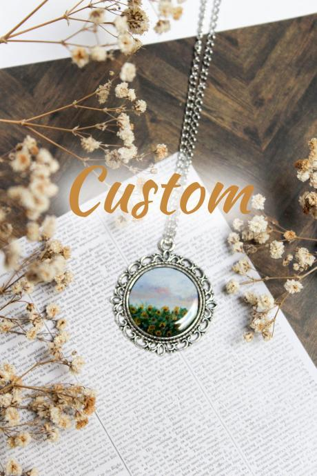 CUSTOM Hand-painted Pendant, Landscape, Portrait, Handmade Jewellery, Gift for her, Wearable art, Made in Australia