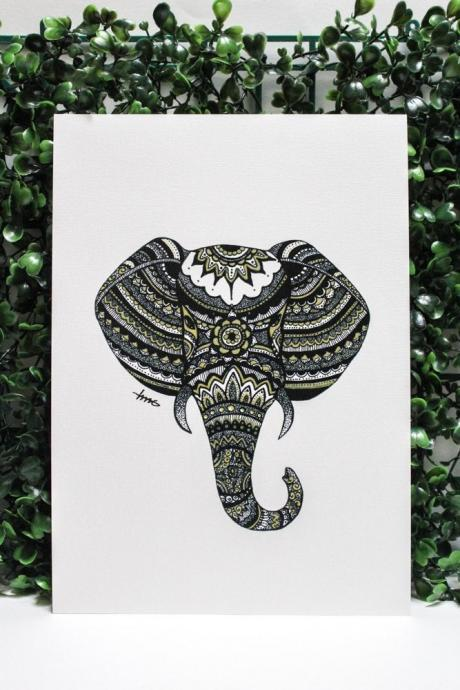 A5 Zentangle Elephant Art Print, Small Drawing Print, Home Decor, Housewarming Gift, Made in Australia