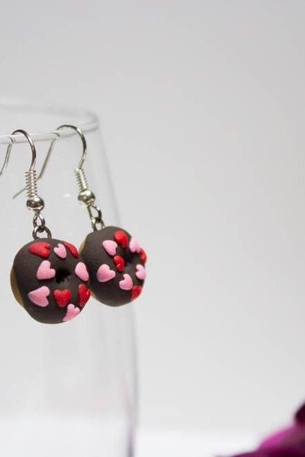 Handmade Heart Doughnut Earrings, Valentine's Day Gift, Miniature Polymer Clay Donut, Chocolate Iced Donut, Gift for Her, Made in Australia