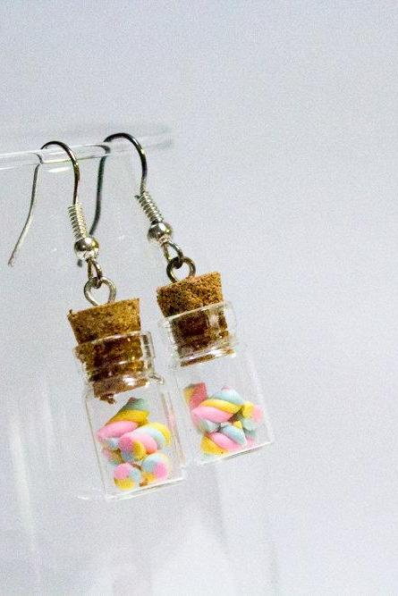 Mini Handmade Polymer Clay Marshmallow Twists in a Bottle Earrings, Cute Miniature Glass Bottle Earrings, Gift for Her, Made in Australia